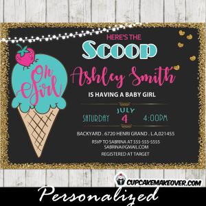 ice cream social baby shower invitations pink blue
