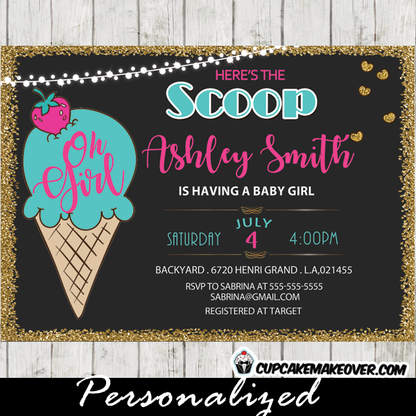 Ice Cream Baby Shower Invitations Girl Pink And Blue Gold Glitter
