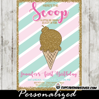 ice cream party invitations pink mint green girls gold glitter cone scoop first birthday