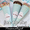 pink turquoise ice cream cone wrappers personalized birthday party