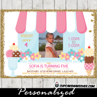 ice cream photo invitations girl birthday party pastel flowers social first second
