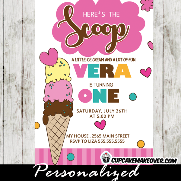 Ice cream birthday invites girls cone scoops pink stripes ice cream birthday invites pink girls scoop cone birthday invitations filmwisefo