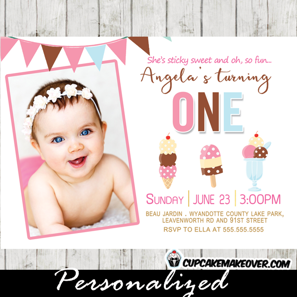 ice cream photo invitations girl birthday party Neapolitan bunting social first second any age