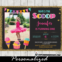 ice cream photo invitations girl birthday party rainbow bunting social first second any age