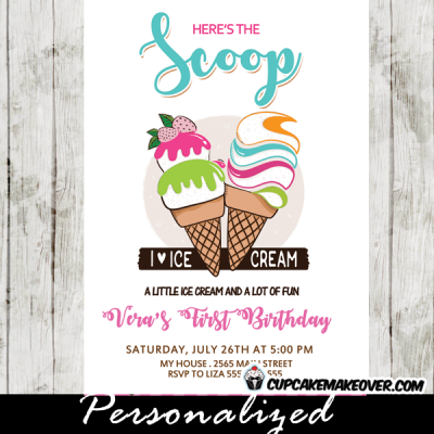 ice cream social invitations girls cone scoop first birthday