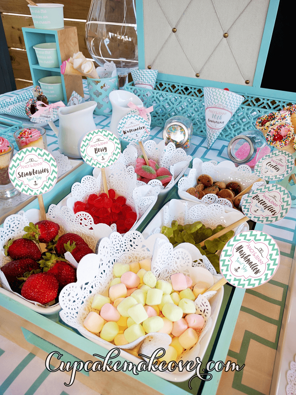 ice cream social party toppings fruits candy sweets ideas