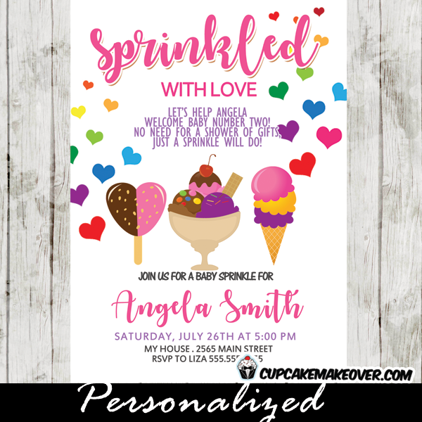 Ice Cream Baby Sprinkle Invitations Colorful Scoops Rainbow Hearts