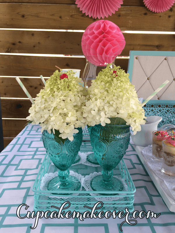 ice cream sundae cups floral decorations