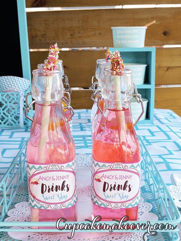 personalized ice cream party bottle wrappers