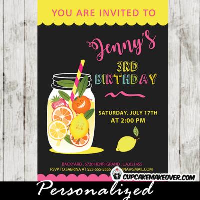 lemonade birthday invitations stand yellow pink black mason jar citrus lime orange lemon