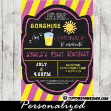 first birthday lemonade party invitations stand yellow pink stripes