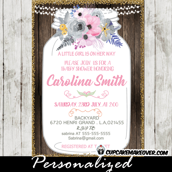 Mason jar baby shower invitations pink gray floral country wood pink grey floral mason jar shower invitations baby country wood bridal filmwisefo