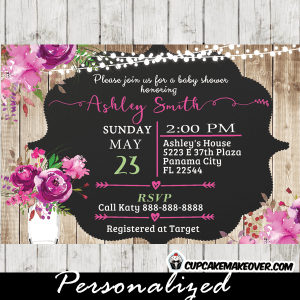 spring summer watercolor pink floral mason jar baby shower invitations rustic wood bridal