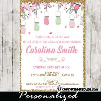 mason jar baby shower invitations bridal gold glitter pink and mint green cherry blossom flowers