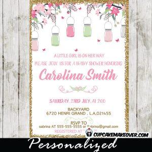 mason jar baby shower invitations bridal gold glitter pink and mint green cherry blossom flowers