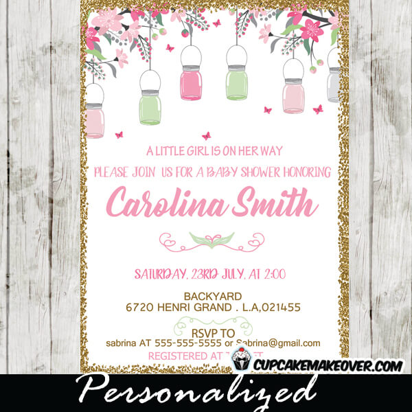 Mason jar baby shower invitations pink cherry blossoms mason jar baby shower invitations bridal gold glitter pink and mint green cherry blossom flowers filmwisefo