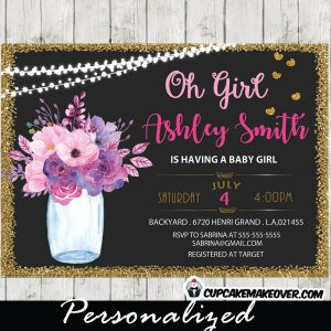 mason jar shower invitations baby shower bridal gold glitter string lights pink and purple flowers