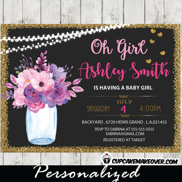 Mason Jar Shower Invitations Baby Bridal Gold Glitter String Lights Pink And Purple Flowers