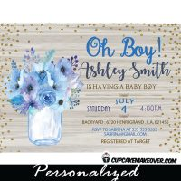 white wood blue purple floral mason jar shower invitations baby shower oh boy gold glitter