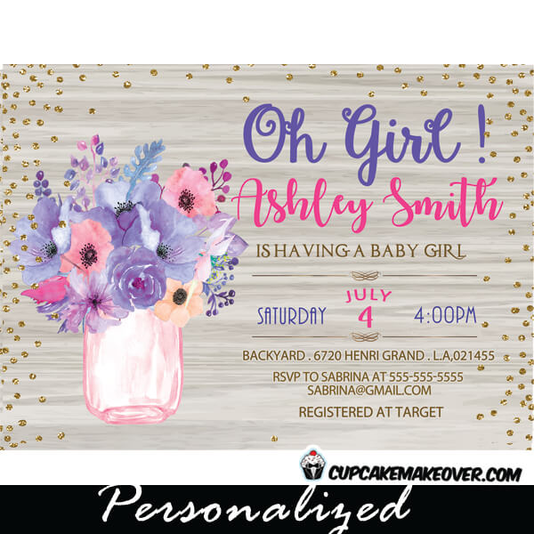 Mason jar baby shower invitations white wood pink and purple white wood pink purple floral mason jar shower invitations baby shower bridal gold glitter filmwisefo