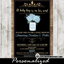 baby blue floral mason jar invitations template rustic baby shower country wood bridal