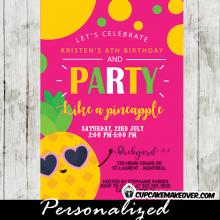 party like a pineapple birthday invitations pink orange green summer luau tropical fun