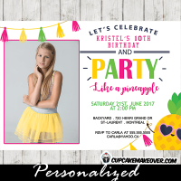 party like a pineapple photo invitations girls ggreen pink yellow tassel bunting summer tropical luau
