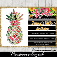 tropical party invitations pineapple birthday floral luau girls