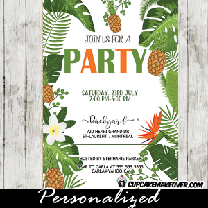 pineapple party invitations floral tropical green leaves orange white