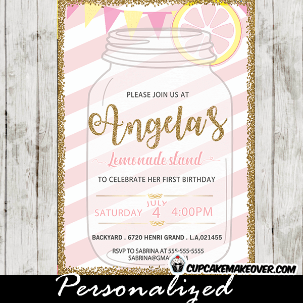 pink lemonade first birthday invitations stand gold yellow white mason jar stripes