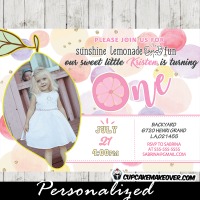 pink lemonade invitations girl birthday party photo invite pastel yellow pink