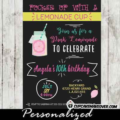 pink lemonade party invitations stand yellow white mason jar first birthday