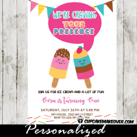 Popsicle party invitations templates summer sweets ice cream birthday colorful bunting flags