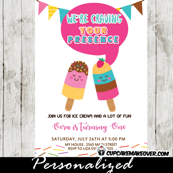 Popsicle Party Invitations Colorful Summer Ice Cream Birthday – Ice Cream Birthday Party Invitations