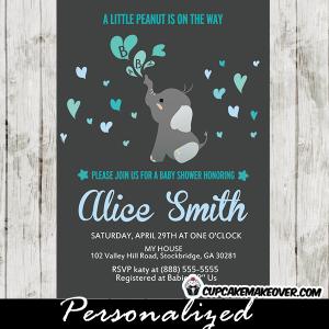 blue elephant invitations for baby shower boy heart bubbles
