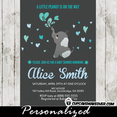 blue elephant invitations for baby shower boy heart bubbles