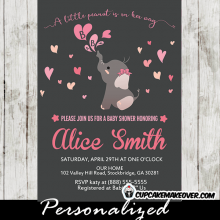 pink elephant invitations for baby shower girl heart bubbles