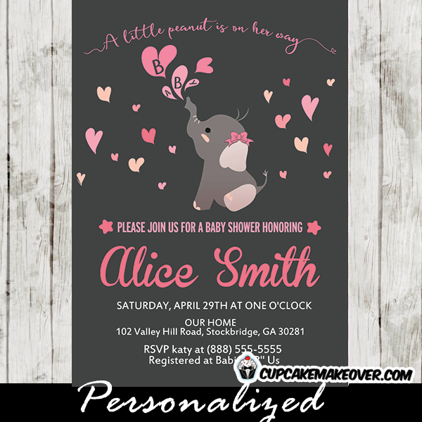 Elephant Baby Shower Invitations Girl Pink Hearts Cupcakemakeover