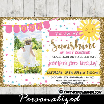 you are my sunshine invitations 1st birthday girls pink yellow gold confetti