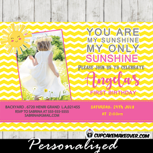 you are my sunshine party theme girls 1st birthday invitations
