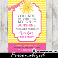pink gray yellow you are my sunshine party theme girls 1st birthday invitations