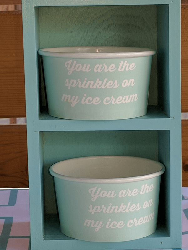 turquoise ice cream cups