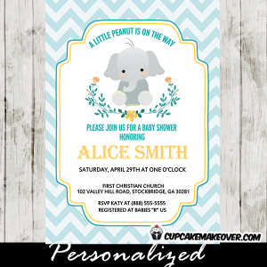 elephant invitations for baby shower boy floral wreath blue chevron