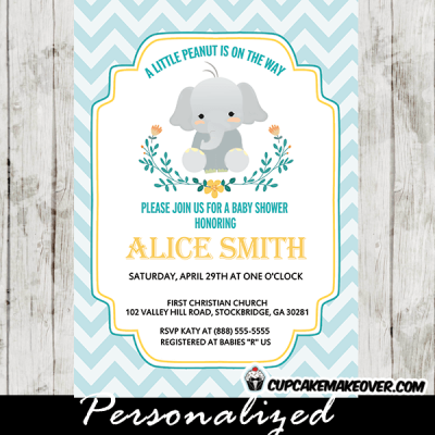 elephant invitations for baby shower boy floral wreath blue chevron