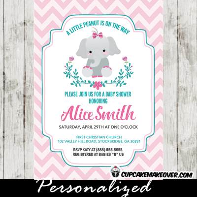 elephant invitations for baby shower girl teal floral wreath pink chevron