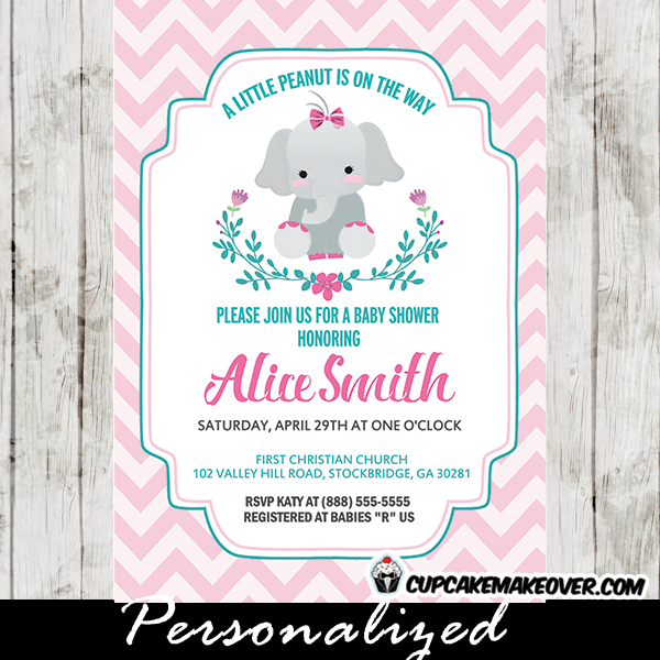 Elephant baby shower invitations girl floral wreath pink chevron elephant invitations for baby shower girl teal floral wreath pink chevron filmwisefo