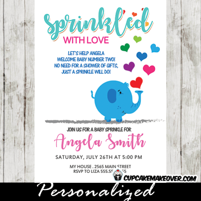 elephant baby sprinkle invitations boy girl shower rainbow blue pink hearts