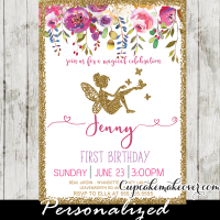 fairy party invitations first birthday garden flowers pink gold glitter