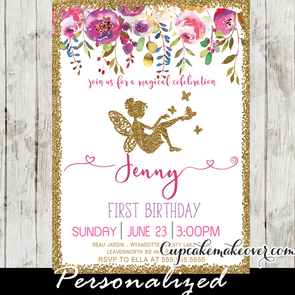 Fairy First Birthday Invitations Pink Floral Gold Glitter - 1st birthday invitations gold and pink