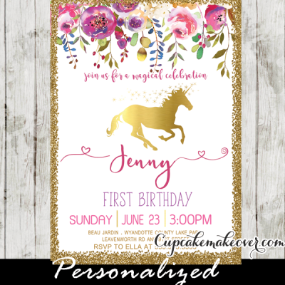 unicorn birthday invitations printable pink gold floral enchanted custom diy